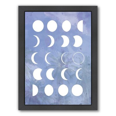 Moon Phases by The Glass Mountain Framed Graphic Art in Purple Size: 26.5