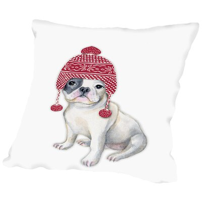 Dog in Winter Hat Throw Pillow Size: 16 H x 16 W x 2 D
