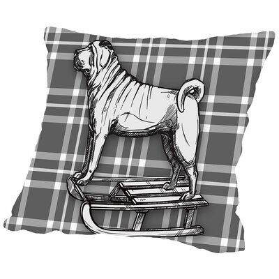 Pug on Sled with BW Throw Pillow Size: 18 H x 18 W x 2 D