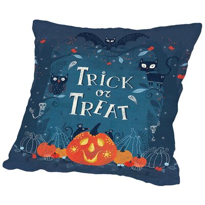 Trick or Treat Throw Pillow Size: 14 H x 14 W x 2 D