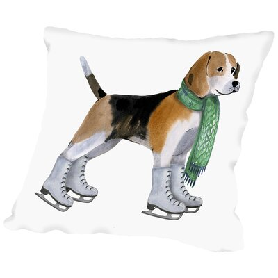 Dog with Green Scarf Throw Pillow Size: 16 H x 16 W x 2 D