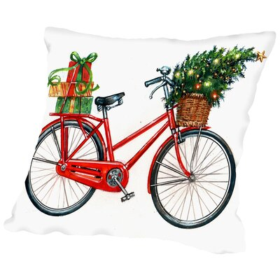 Christmas Bicycle Throw Pillow Size: 18 H x 18 W x 2 D