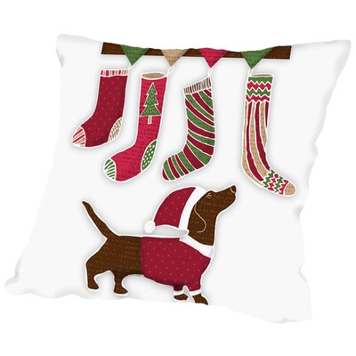 Santa Dog2 Throw Pillow Size: 16 H x 16 W x 2 D