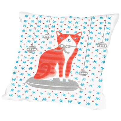 Orange Holiday Cat Throw Pillow Size: 14 H x 14 W x 2 D