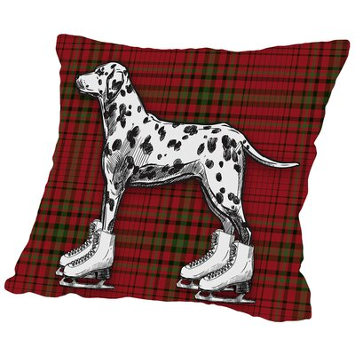 Dog on Ice Skates with Plaid Background Throw Pillow Size: 14 H x 14 W x 2 D