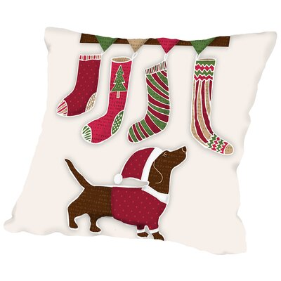 Santa Dog1 Throw Pillow Size: 18 H x 18 W x 2 D