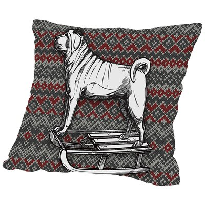 Dog on Sled Throw Pillow Size: 16 H x 16 W x 2 D