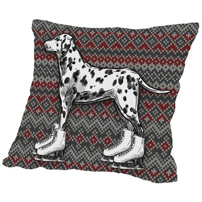 Dog on Ice Skates with Fair Isle Background Throw Pillow Size: 20