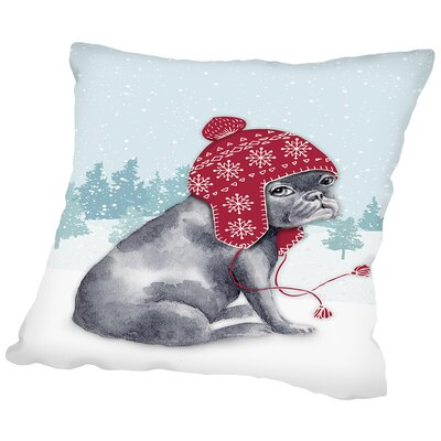 Frenchie in snow Throw Pillow Size: 20 H x 20 W x 2 D