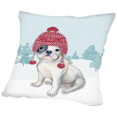 Dog with Hat in snow Throw Pillow Size: 20 H x 20 W x 2 D