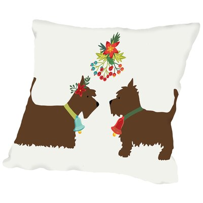 Dogs under Mistletoe Throw Pillow Size: 18 H x 18 W x 2 D