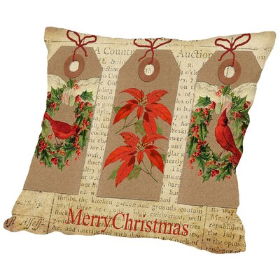 Chritmas Gift Tags Throw Pillow Size: 16 H x 16 W x 2 D