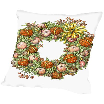 Holiday Wreath Throw Pillow Size: 18 H x 18 W x 2 D