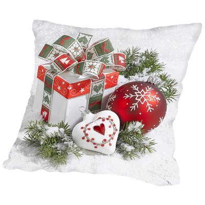 Festive Gift Throw Pillow Size: 16 H x 16 W x 2 D