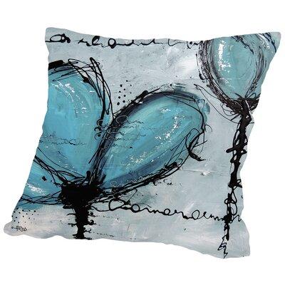 Fleurs Turquoise Throw Pillow Size: 18