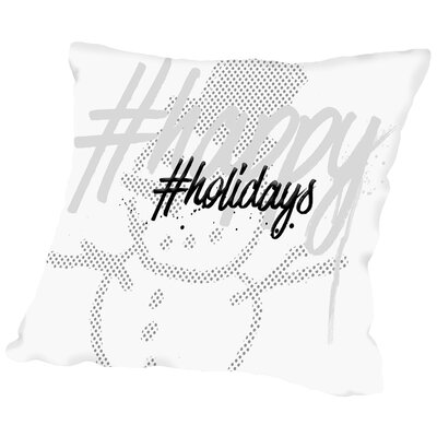 Text Art Happy Holidays Throw Pillow Size: 18 H x 18 W x 2 D