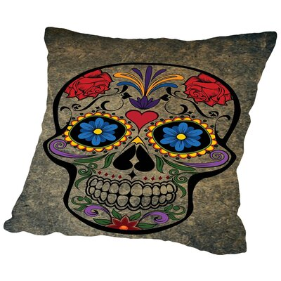 Floral Horror Skull Gothic Throw Pillow Size: 16 H x 16 W x 2 D, Color: Brown
