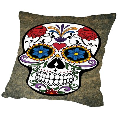 Floral Horror Skull Gothic Throw Pillow Size: 16 H x 16 W x 2 D, Color: White