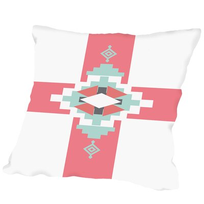 Coral Mint Southwestern Cross Outdoor Throw Pillow Size: 16 H x 16 W x 2 D
