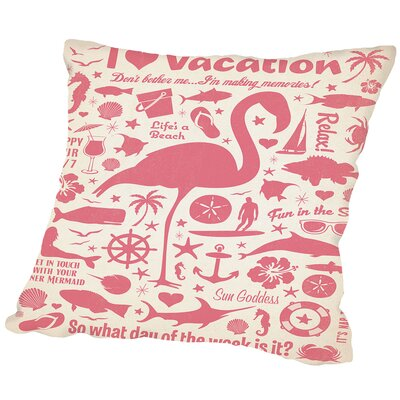 Cc Flamingo Pattern Print Outdoor Throw Pillow Size: 18 H x 18 W x 2 D