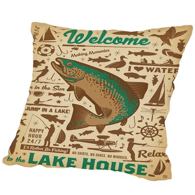 Lake Bass Pattern 1 Outdoor Throw Pillow Size: 20 H x 20 W x 2 D