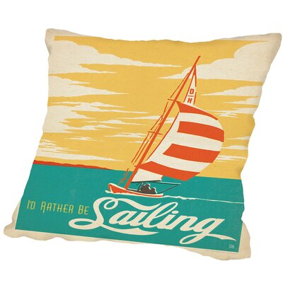ID Rather Be Sailing Lake Outdoor Throw Pillow Size: 20 H x 20 W x 2 D