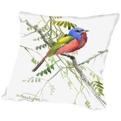 Painted Bunting Throw Pillow Size: 18 H x 18 W x 2 D
