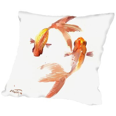 Koi Feng Shui Throw Pillow Size: 14 H x 14 W x 2 D