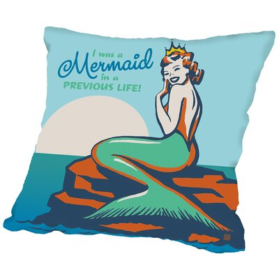 Mermaid in A Previous Life Throw Pillow Size: 16 H x 16 W x 2 D