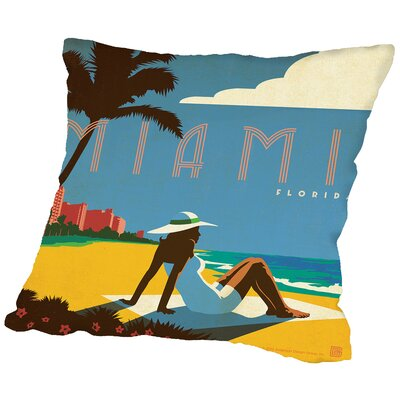 Miami Throw Pillow Size: 16 H x 16 W x 2 D