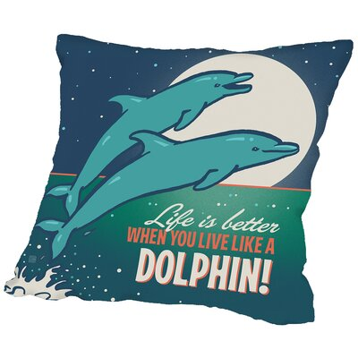 Dolphins Throw Pillow Size: 14 H x 14 W x 2 D