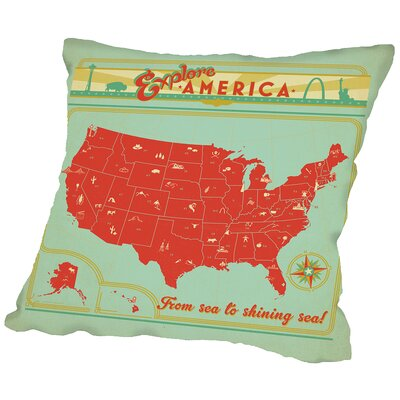 Map USA Throw Pillow Size: 14 H x 14 W x 2 D