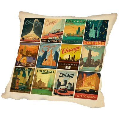 Chicago Border Throw Pillow Size: 14 H x 14 W x 2 D