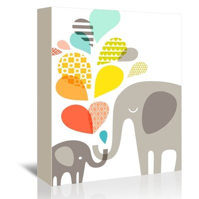 """'Elephants' by Jeanie Nelson Graphic Art on Wrapped Canvas Size: 7"""" H x 5"""" W x 1.5"""" D A92P008C0507"""