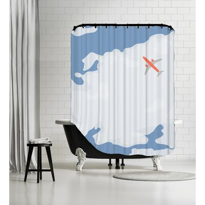Sky with Plane Shower Curtain