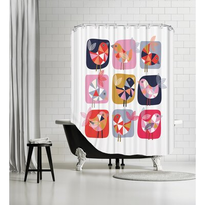 Geo Bird-Square Shower Curtain