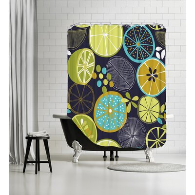 Luscious Limes 1 Shower Curtain Color: Black