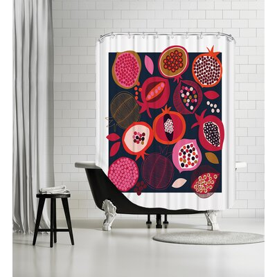 Pomegranates Shower Curtain Color: Black