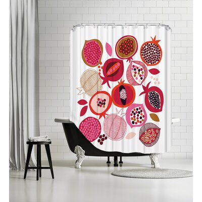 Pomegranates Shower Curtain Color: White