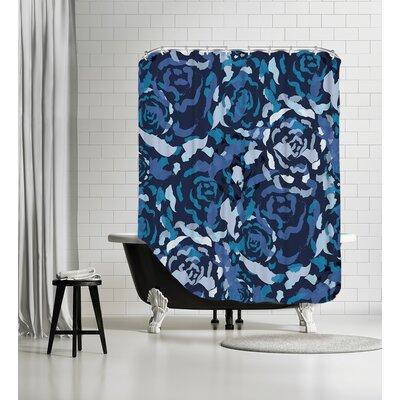 Rose Bouquet Shower Curtain Color: Blue