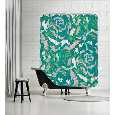 Rose Bouquet Shower Curtain Color: Teal