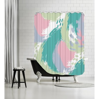 Brushed Ripple Shower Curtain Color: Pastel