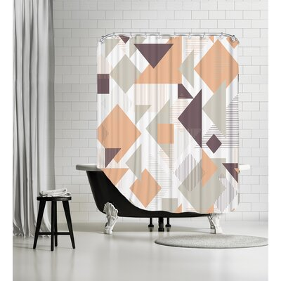 Scattered Angles Shower Curtain Color: Orange