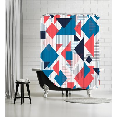 Scattered Angles Shower Curtain Color: Blue