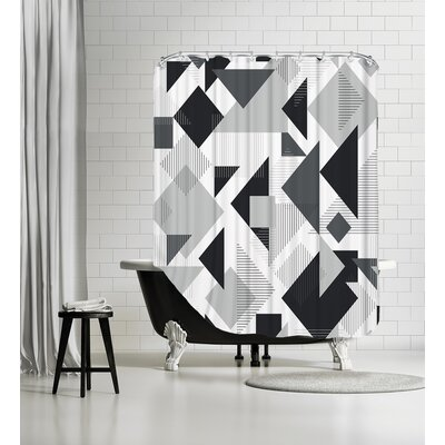 Scattered Angles Shower Curtain Color: Black