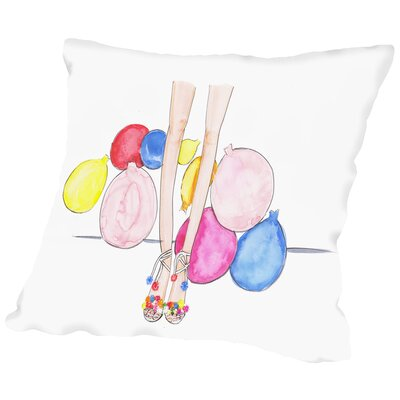 Pom Poms & Balloons Throw Pillow Size: 14 H x 14 W x 2 D