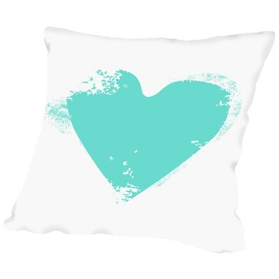 Heart Throw Pillow Size: 16 H x 16 W x 2 D, Color: Aqua