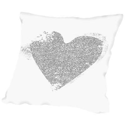 Heart Throw Pillow Size: 16 H x 16 W x 2 D, Color: Silver