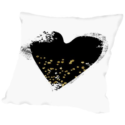 Heart Throw Pillow Size: 18 H x 18 W x 2 D, Color: Black