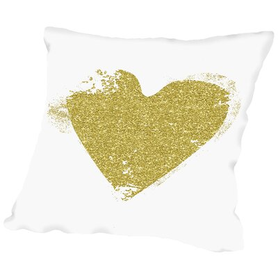 Heart Throw Pillow Size: 20 H x 20 W x 2 D, Color: Gold